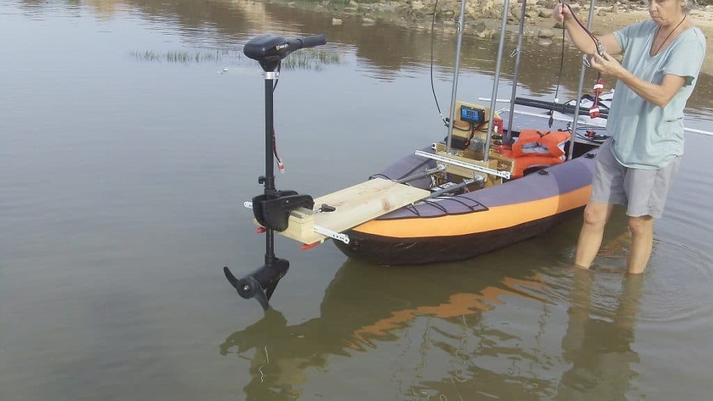 Lithium phosphate battery used to power and inflatable solar kayak