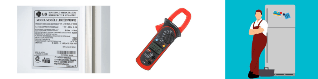 Use an a.c.c clamp meter to check your refrigerator power rating