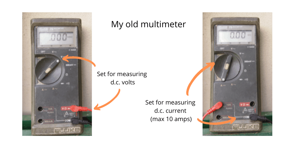 Measuring current and voltage with a multimeter for testing solar panel output