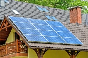 solar panels mounted on the roof for solar AC