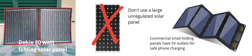 Charging smartphones with solar panels only if regulated