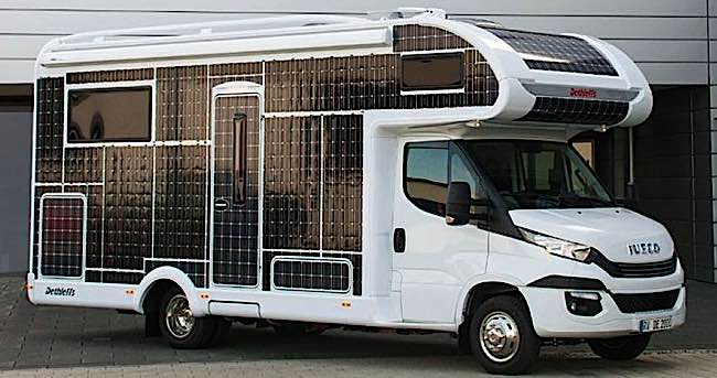 Dethleff 3kW solar panel covered electric RV
