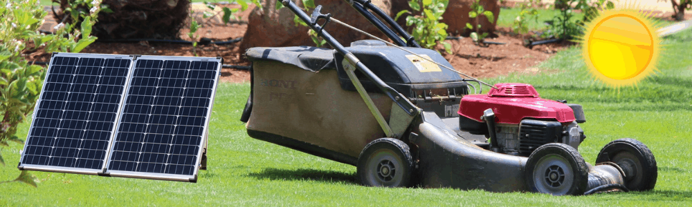Solar panel charger lawn mower
