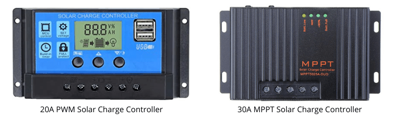 Use either PWM or MPPT 20 amp controller for 200 watt solar panel