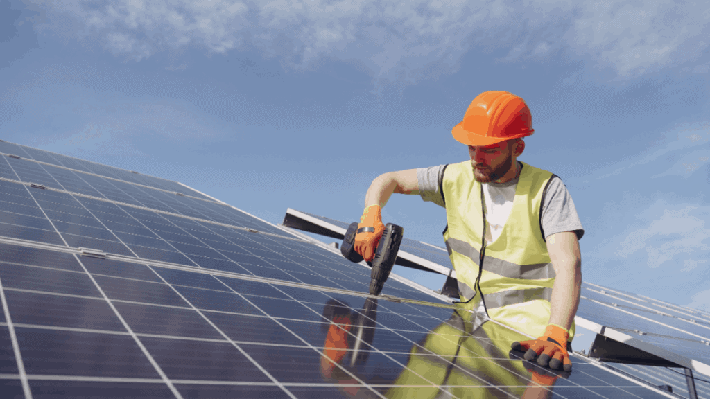 How are wsolar panels mounted on a house roof?